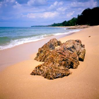A beach rock at Desaru, Malaysia.