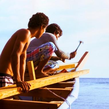 Gili Meno master ship builders buiding a boat.
