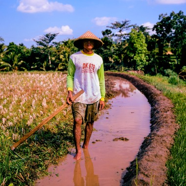 A rice farmer reinforcing a rice terrace on Lombok.
