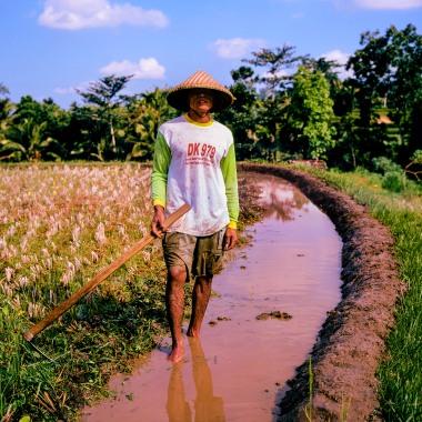 A rice farmer reinforcing a rice terrace on Lombok.
